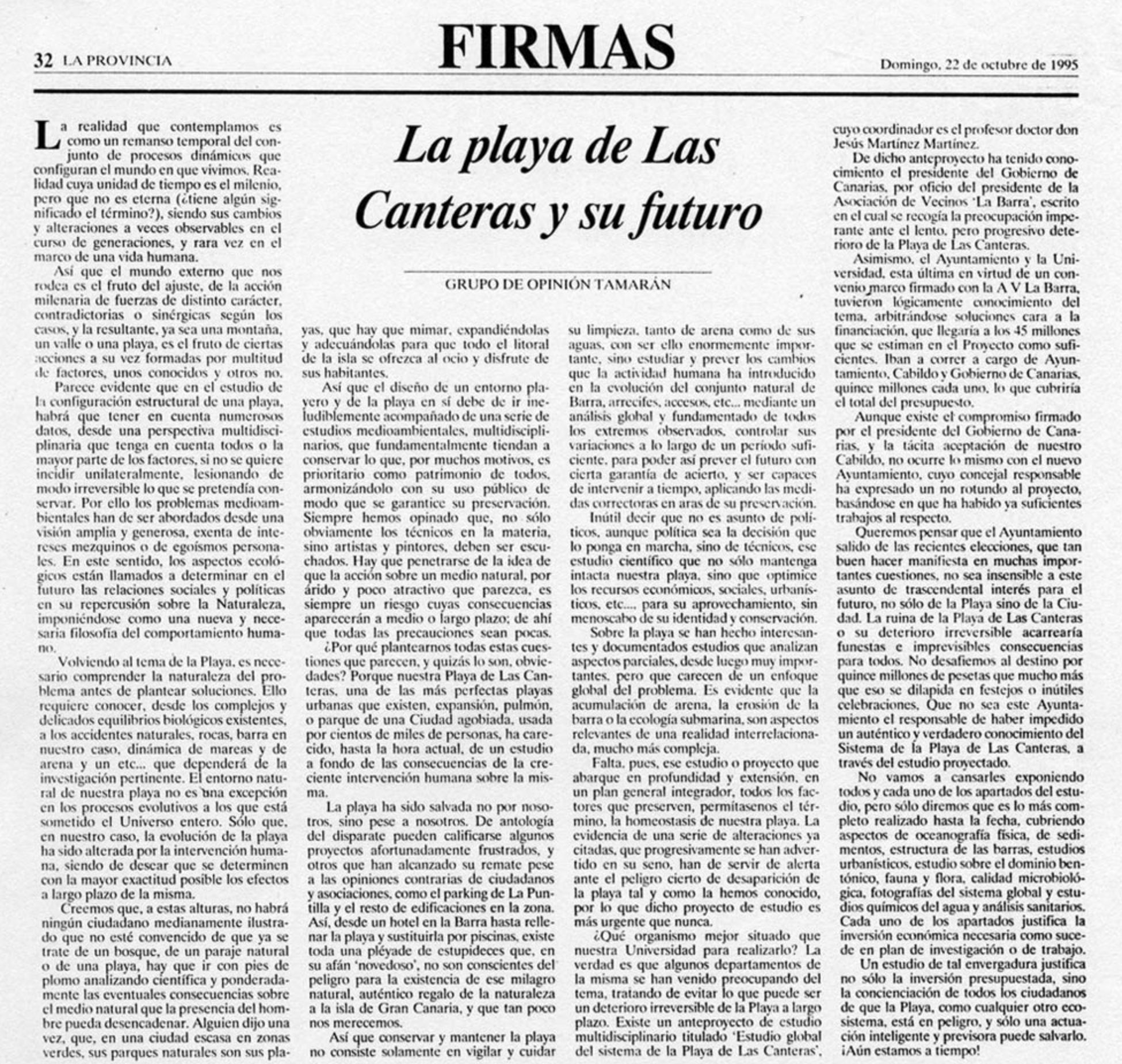 La playa de Las Canteras y su futuro por el Grupo de Opinión Tamarán (1995)