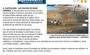 Las playas de Las Palmas de Gran Canaria se cerrarán en 24 horas cuando se detecte algún tipo de contaminación. ( Laprovincia.es)