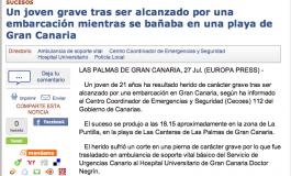 Un joven grave tras ser alcanzado por una embarcación mientras se bañaba en Las Canteras ( europapress.es ).