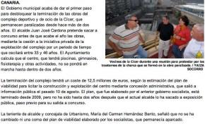 El alcalde desbloquea el centro de ocio de la Cícer ( laprovincia.es).
