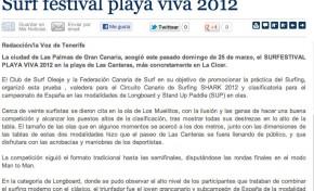 Surf festival playa viva 2012 ( La voz de Tenerife).