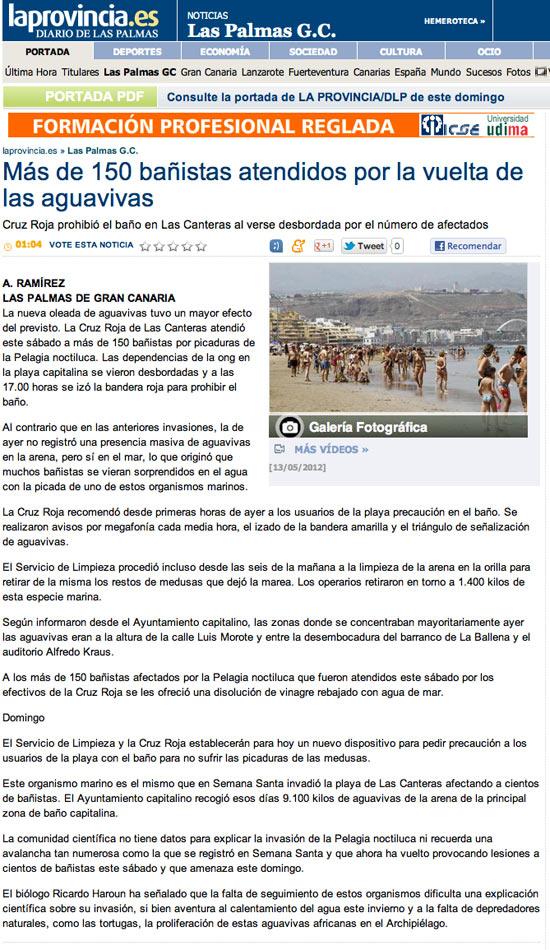 Más de 150 bañistas atendidos por la vuelta de las aguavivas ( laprovincia.es).