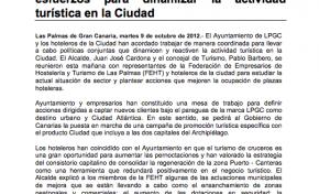 Ayuntamiento y hoteleros de LPGC suman esfuerzos para dinamizar la actividad turística en la Ciudad ( Nota de prensa).