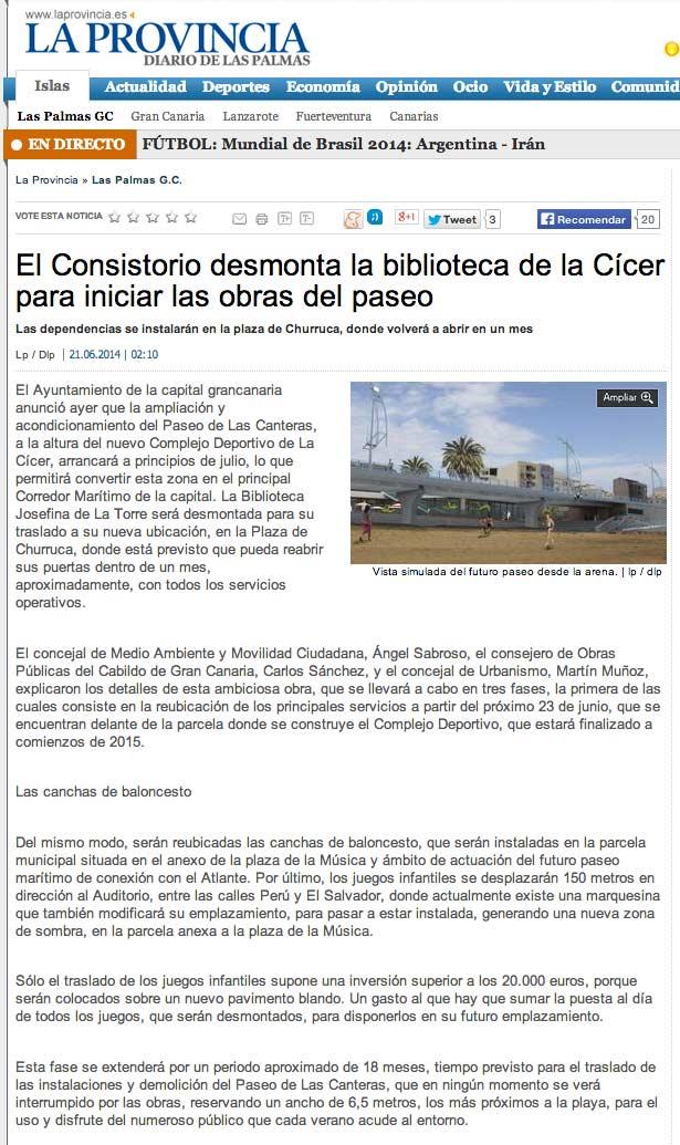 El Consistorio desmonta la biblioteca de la Cícer para iniciar las obras del paseo ( laprovincia.es).