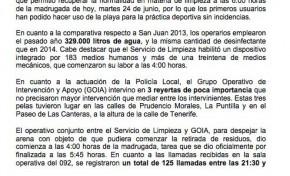 La Noche de San Juan en Las Canteras se desarrolla sin incidentes y con un balance de 11.700 kilos de basura recogida, un 9,6% menos que en 2013 (Nota de prensa).