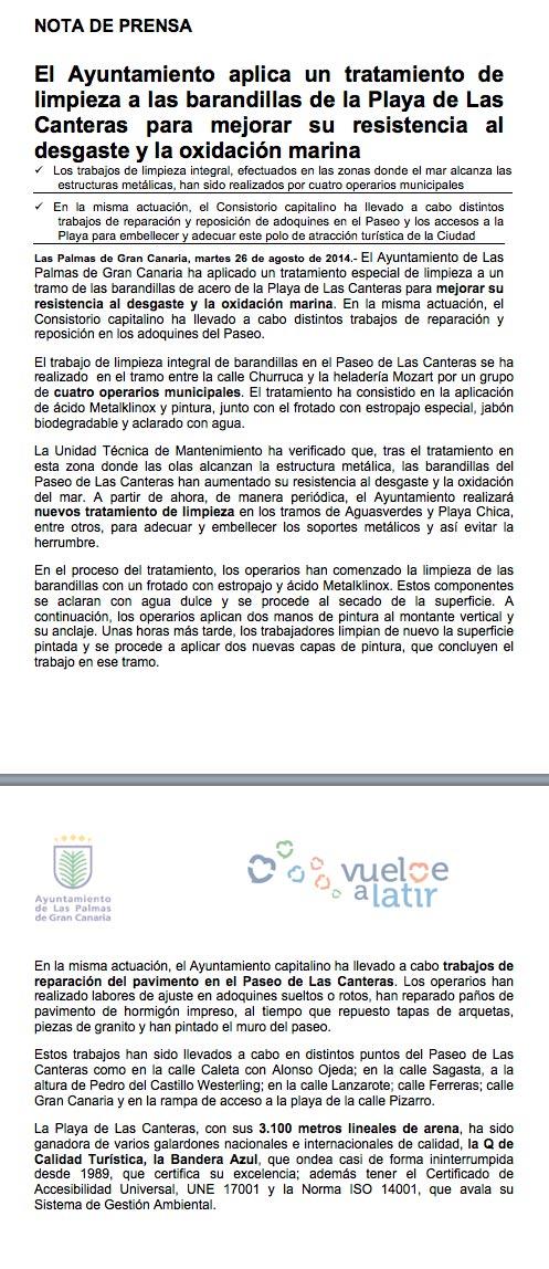 El Ayuntamiento aplica un tratamiento de limpieza a las barandillas de la Playa de Las Canteras para mejorar su resistencia al desgaste y la oxidación marina (Nota de prensa).