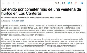 Detenido por cometer más de una veintena de hurtos en Las Canteras ( laprovincia.es).