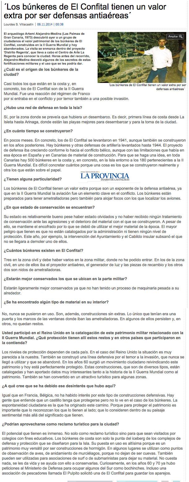 ´Los búnkeres de El Confital tienen un valor extra por ser defensas antiaéreas ( laprovincia.es).