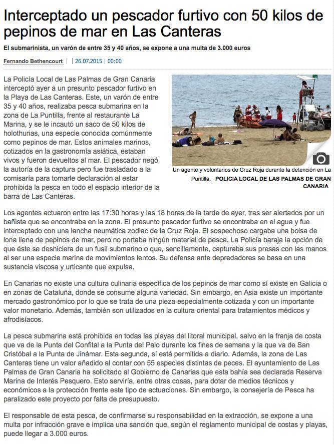 Interceptado un pescador furtivo con 50 kilos de pepinos de mar en Las Canteras ( laprovincia.es).