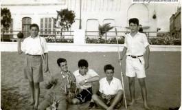José D. Morales, José Ayala, Pepe J. Delgado, Paco Santana, Carlos Noble y José J. Cardoso. Atletismo 1950