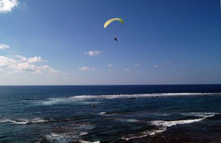Volando sobre un magnifico cielo azul