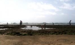 Pasando el sábado por la tarde en la playa de Las Canteras.