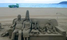 Los Simpsons disfrutan de la playa como si estuvieran en el salón de su casa.