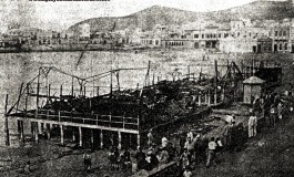 Los restos de la Caseta de Galán tras el incendio. Sobre 1940.
