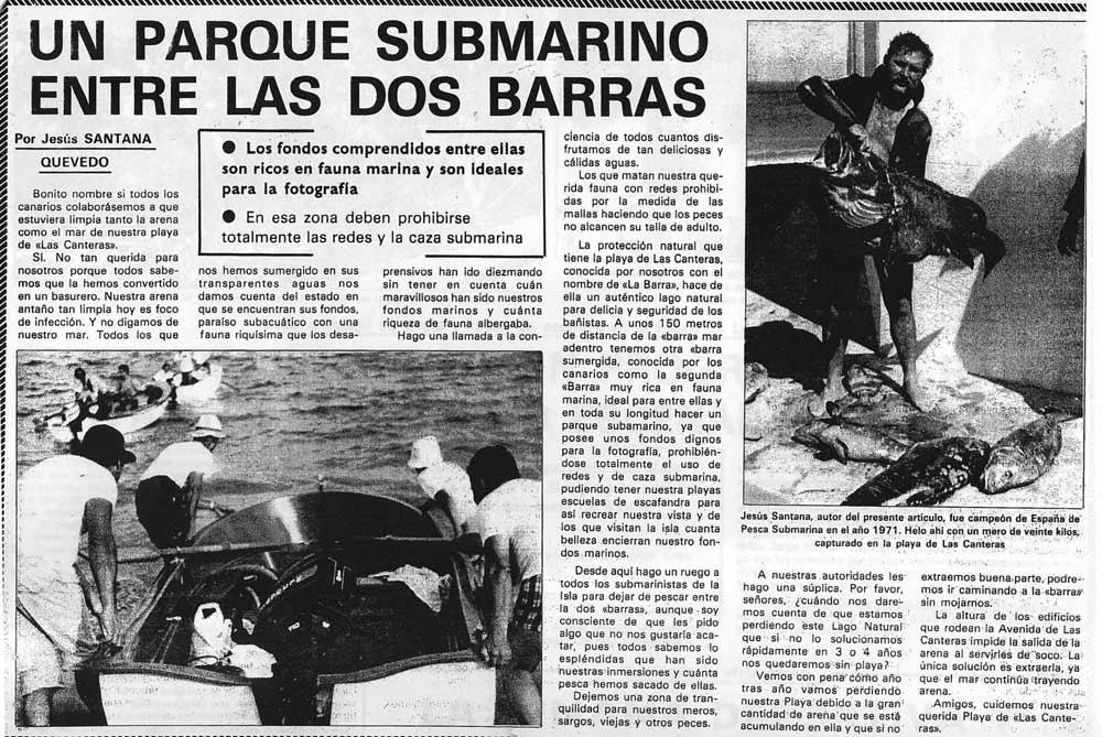 Viejos artículos de prensa. Un parque submarino entre las dos Barras por Jesús Santana Quevedo