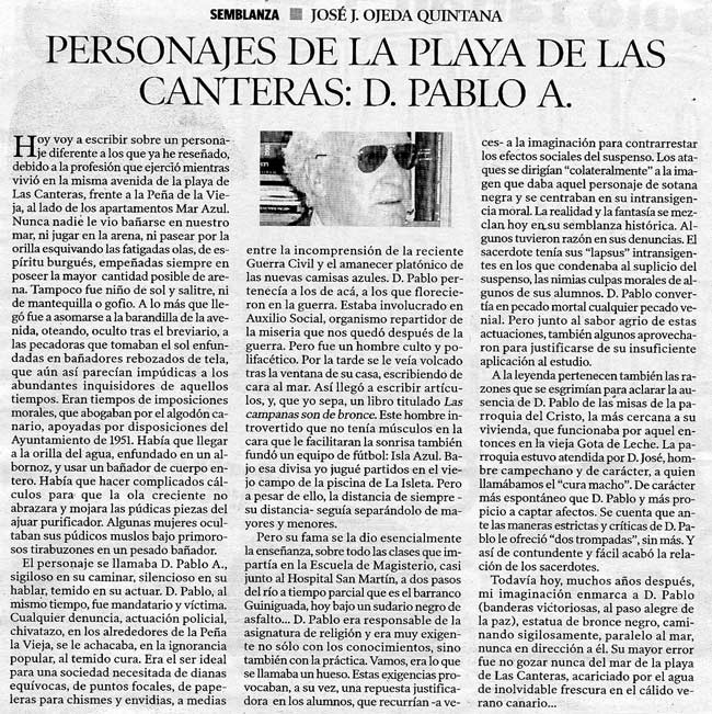 Personajes de la Playa de Las Canteras: D. Pablo A. por José J. Ojeda Quintana