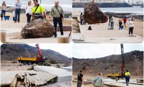 El Ayuntamiento retira las piedras de cinco toneladas que dañaron parte del paseo de El Confital tras el derrumbe