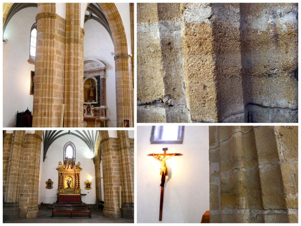 Detalles y vistsa generales de las partes de la Catedral de Santa Ana construida con piedra extraída de la Barra de Las Canteras