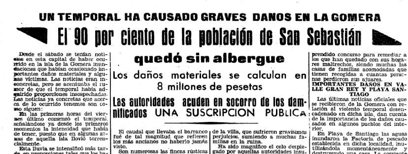 Efemérides meteorológicas en Canarias entre 1900 y 1950