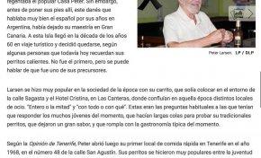 Obituarios. Peter Larsen, el danés que vendía perritos calientes con su carrito en Las Canteras