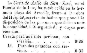 Servicio de baños. 1893