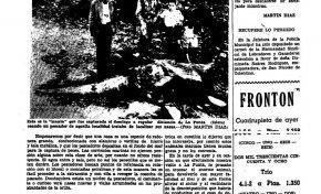 """Viejos recortes de periódico. """" Una manta de unos 1.200 kilos y 0,95 cms. de boca fue capturada en La Punta ( Isleta) """""""