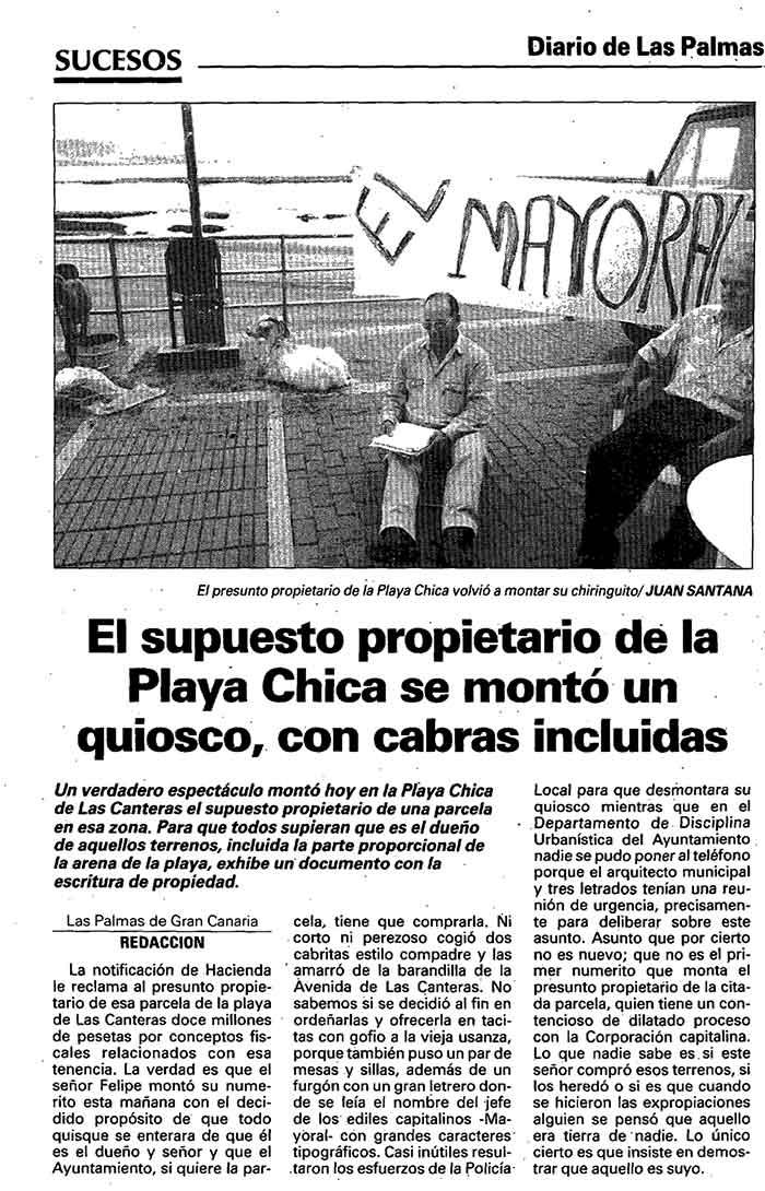 La playa de Las Canteras en la hemeroteca «Cuando la Playa Chica era privada «.