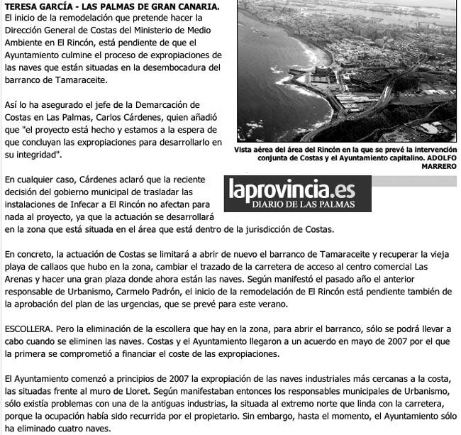 Costas espera por el Ayuntamiento para poder iniciar la remodelación de El Rincón. ( Laprovincia.es)