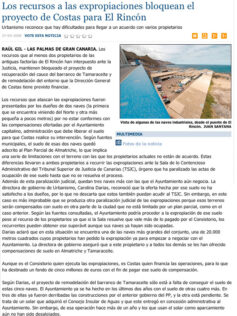 Los recursos a las expropiaciones bloquean el proyecto de Costas para El Rincón. ( Laprovincia.es)
