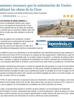 Urbanismo reconoce que la subestación de Unelco paralizará las obras de la Cícer. ( Laprovincia.es)
