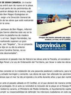 Los ecologistas acusan a Costas de destruir la playa de El Confital. ( Laprovincia.es)