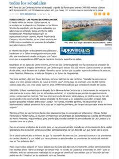 La arena sobrante de Las Canteras ha enterrado ya todos los sebadales. ( Laprovincia.es)