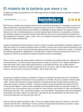 El misterio de la bacteria que viene y va ( www.laprovincia.es).