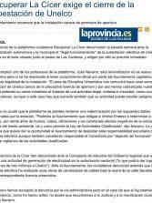 Recuperar La Cícer exige el cierre de la subestación de Unelco   ( www.laprovincia.es).
