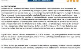 UGT denuncia el bloqueo de multas a los empresarios ( www.laprovincia.es).