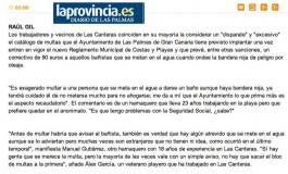 Los vecinos ven ´un disparate´ multar por nadar con bandera roja ( www.laprovincia.es).