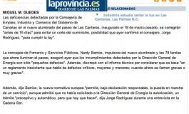 Los fallos de las farolas se corregirán en 15 días ( www.laprovincia.es).