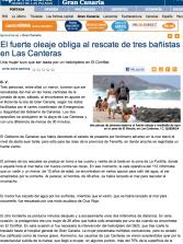 El fuerte oleaje obliga al rescate de tres bañistas en Las Canteras  ( www.laprovincia.es).