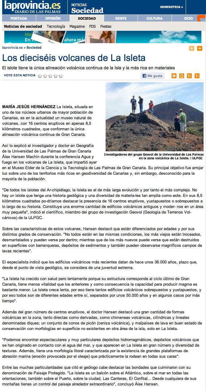 Los dieciséis volcanes de La Isleta