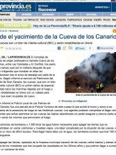 Arde el yacimiento de la Cueva de los Canarios ( laprovincia.es).