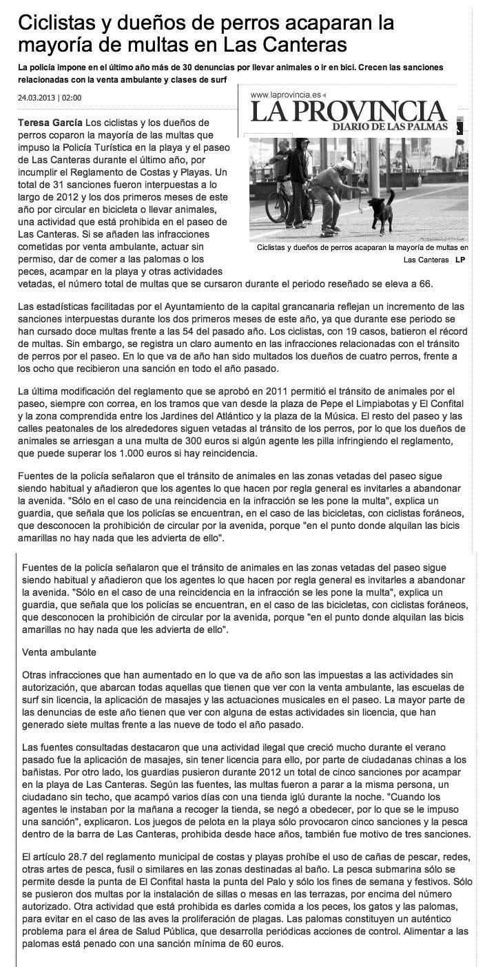 Ciclistas y dueños de perros acaparan la mayoría de multas en Las Canteras ( laprovincia.es).