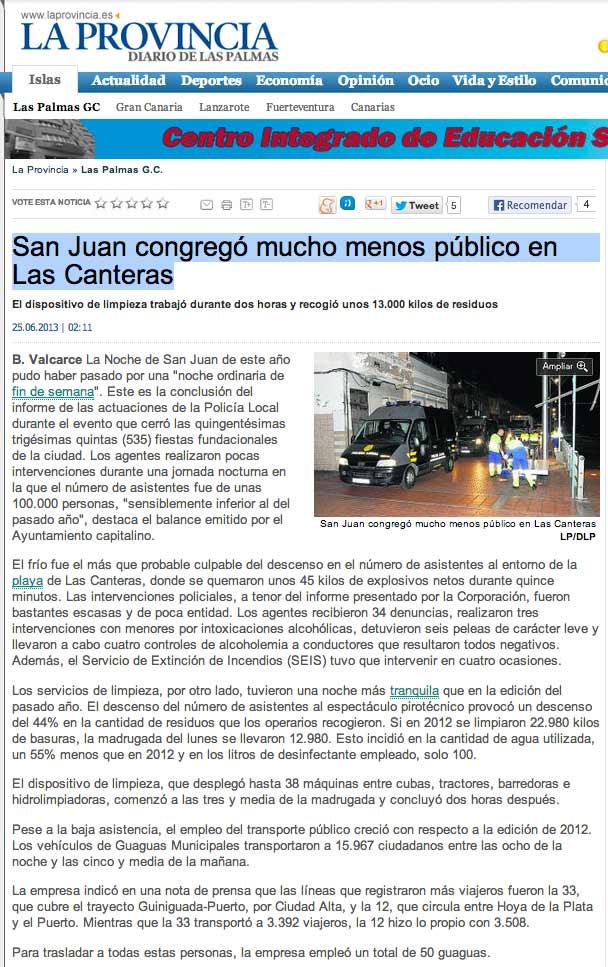 San Juan congregó mucho menos público en Las Canteras ( laprovincia.es).