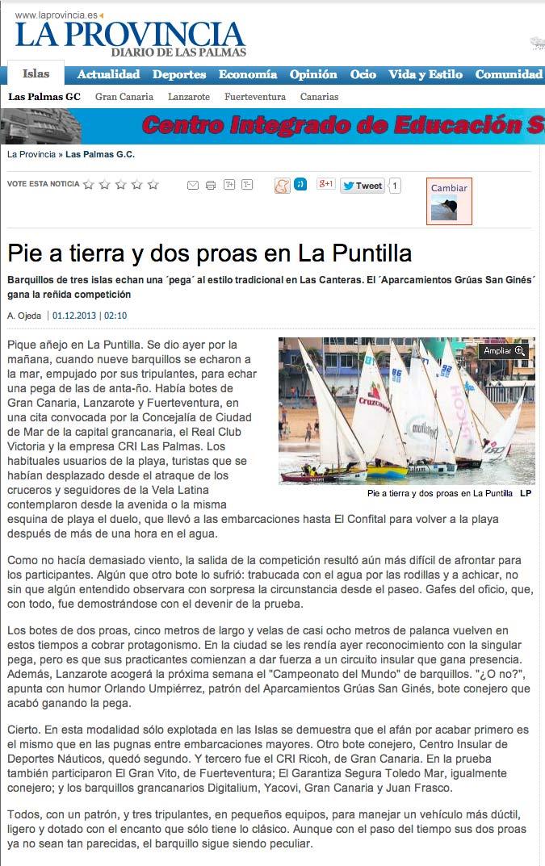 Pie a tierra y dos proas en La Puntilla (laprovincia.es).