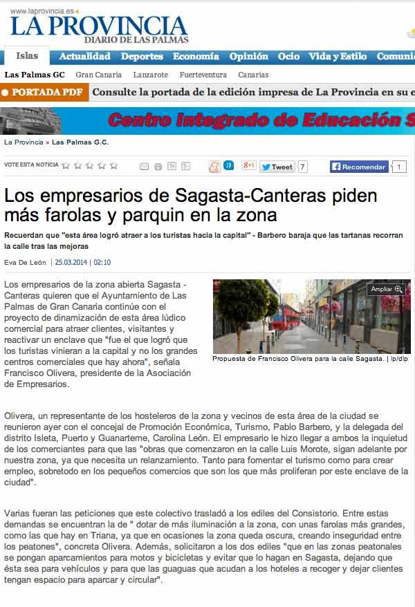 Los empresarios de Sagasta-Canteras piden más farolas y parquin en la zona (laprovincia.es).