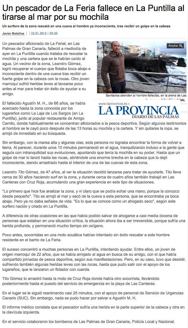 Un pescador de La Feria fallece en La Puntilla al tirarse al mar por su mochila ( laprovincia.es).