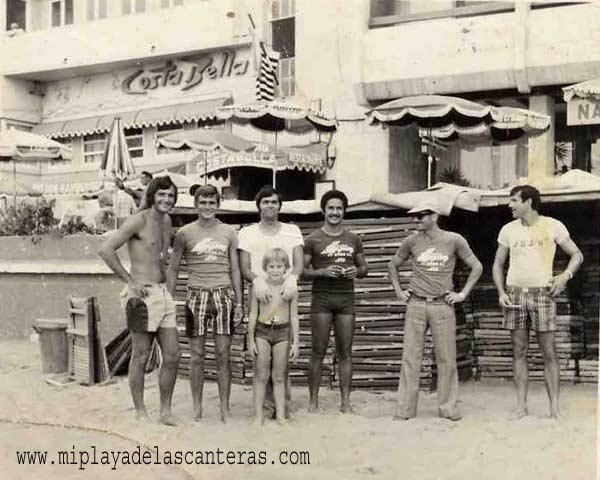 Juan Carreño, Jorge, Ramón, Bernardo, un amigo y Juan Báez en La Puntilla de los 70-colecc. Juan Carreño