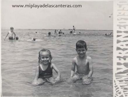Margarita y José Alberto Díaz. Playa Chica. Verano 1950.