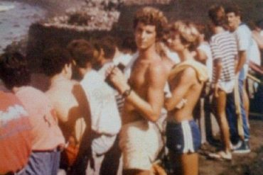 Paco Bello jr. y Félix Travieso en el antiguo Muro Lloret. Sobre 1985- colecc. Félix Travieso.