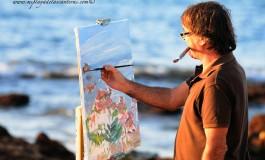 Álvaro pintando la Peña la Vieja.