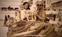 Rudolf Ackermann con su mujer y sus hijos en La Puntilla. 1964